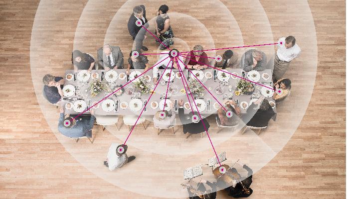 Oticon: Esstisch von oben mit Menschen, Schallwellen darüber