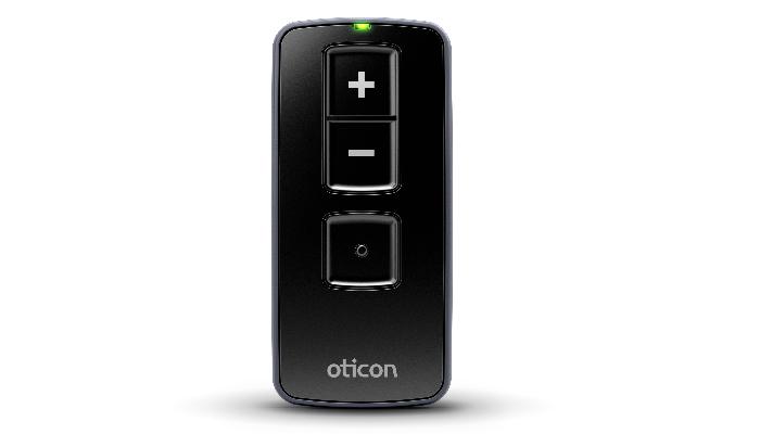 Oticon: Kleine schwarze Fernbedienung für Hörgeräte