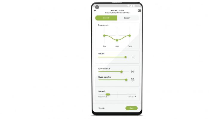 Phonak: Screenshot einer App zur Hörgeräte-Steuerung