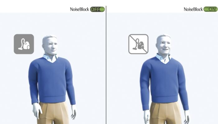 Phonak: Grafik: Mann ohne NoiseBlock links, Mann mit NoiseBlock rechts