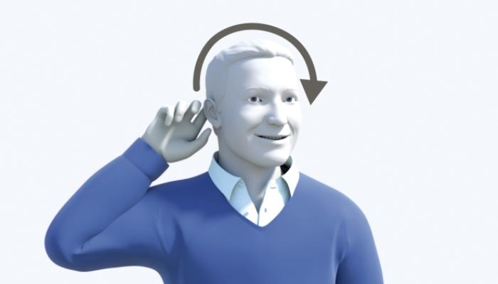 Phonak: Mann bedient sein Hörgerät, Pfeil um den Kopf zum anderen Ohr