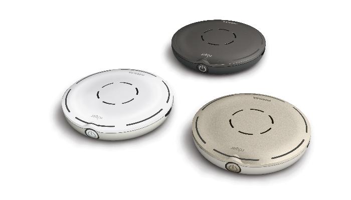 Phonak: Drei Tischmikrofone in unterschiedlicher Farbe