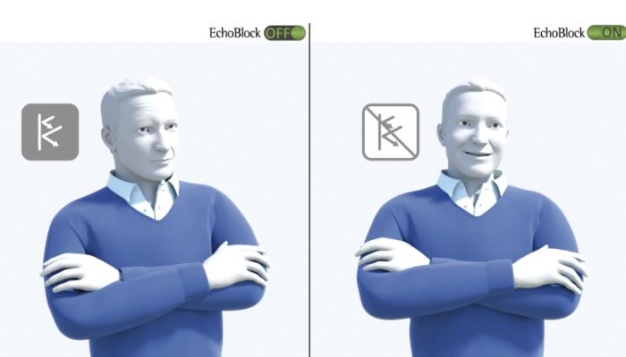 Phonak: Links ein Mann, der Echo hört. Rechts ein Mann, der kein Echo hört