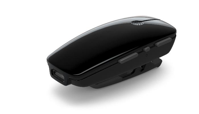 ReSound: Schwarzes Ansteckmikrofon mit drei seitlichen Tasten, liegend.