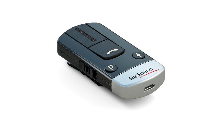 ReSound: Schwarzer Bluetooth-Telefonclip liegend