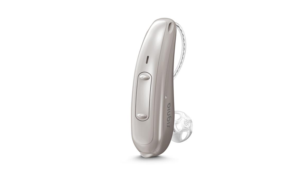 Signia: Silbernes Hörgerät mit Wippschalter und externem Hörer
