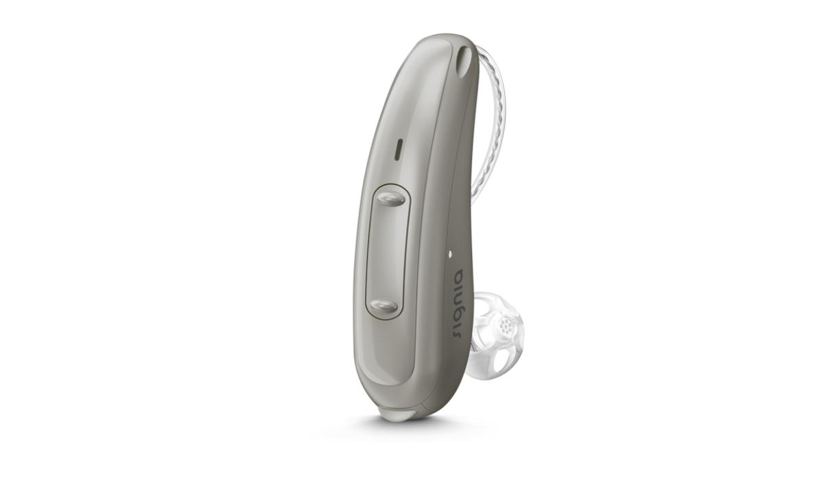 Signia: Graues Hörgerät mit Wippschalter und externem Hörer
