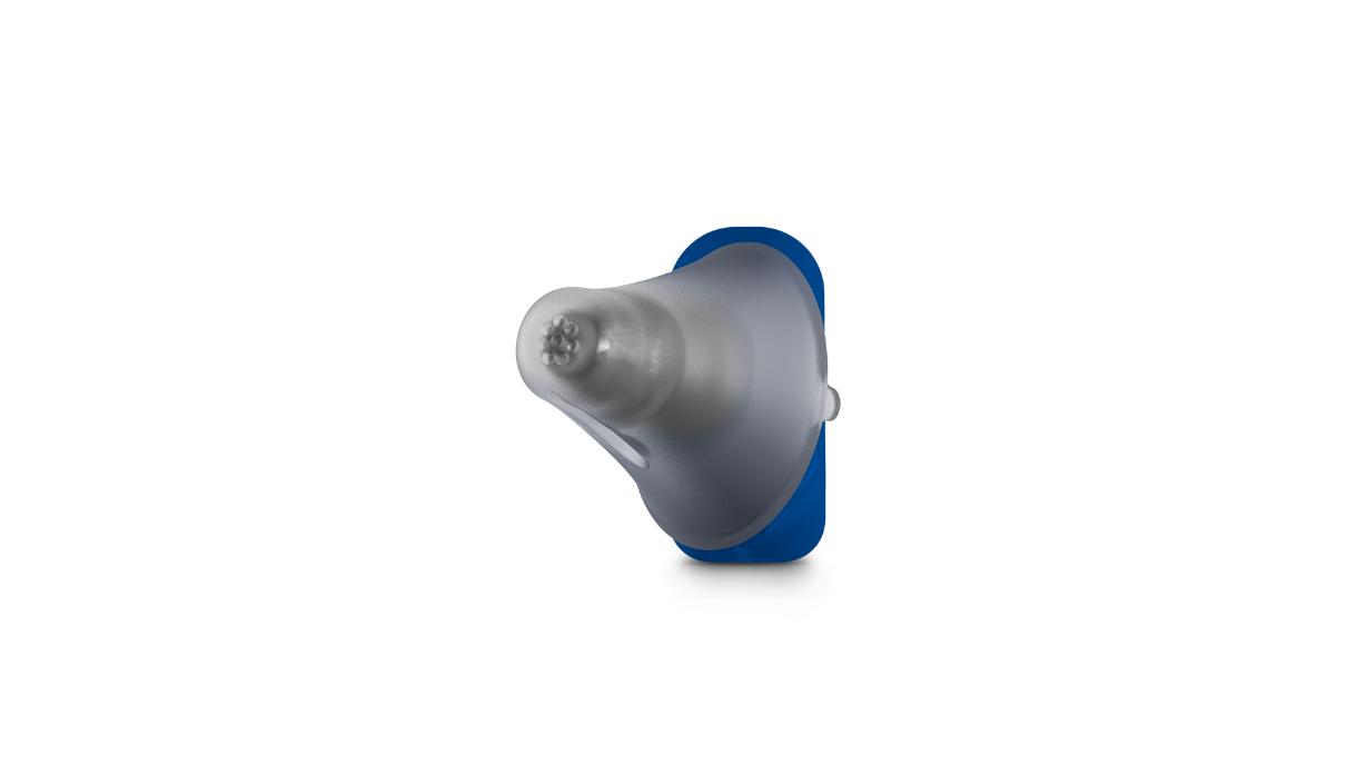 Signia: Blaues Standard-Im-Ohr-Hörgerät mit Dome