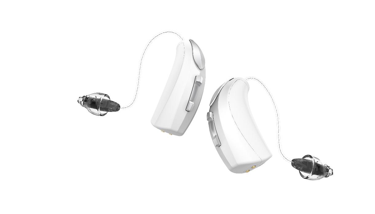 Starkey: zwei weisse Akkuhörgeräte