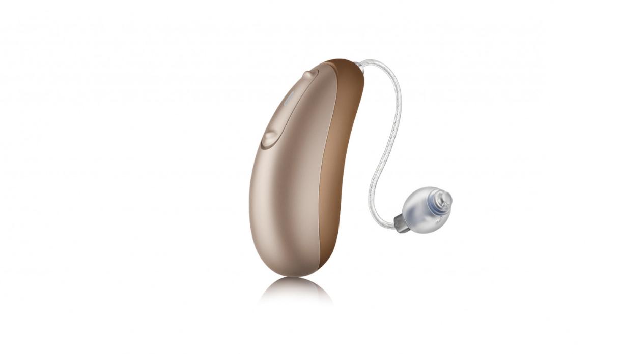 Unitron: Ein hellbeiges Hörgerät mit ausgelagertem Lautsprecher