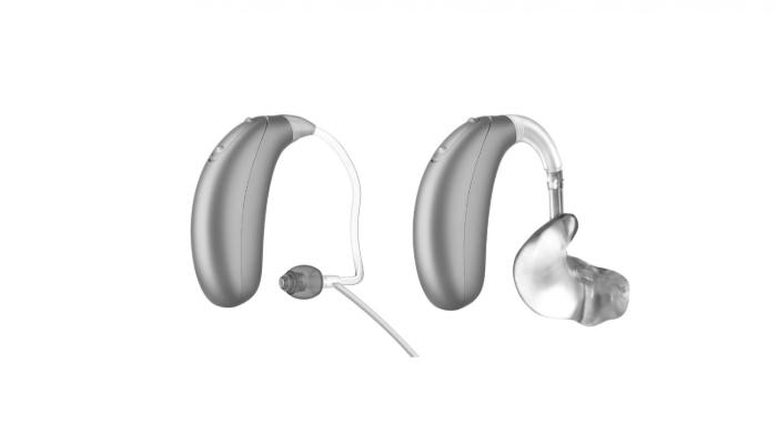 Unitron: Zwei Unitron Stride Hörgeräte, eins mit Dünnschlauch, eins mit Otoplastik