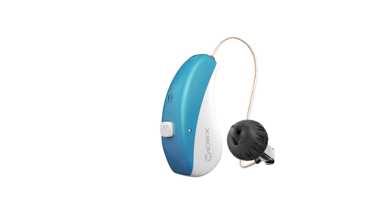 Widex: Blau-weißes Hörgerät mit Taster und externem Lautsprecher