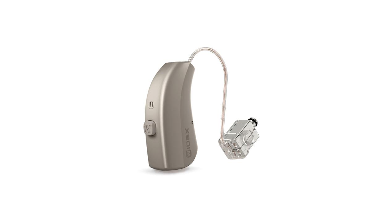 Widex: Silbernes Hörgerät mit Taster und Power-Hörer