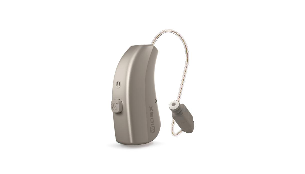 Widex: Graues Hörgerät mit externem Lautsprecher