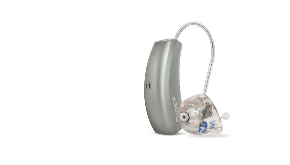 Widex: Zwei kleine silberne Hörgeräte, das rechte mit Otoplastik