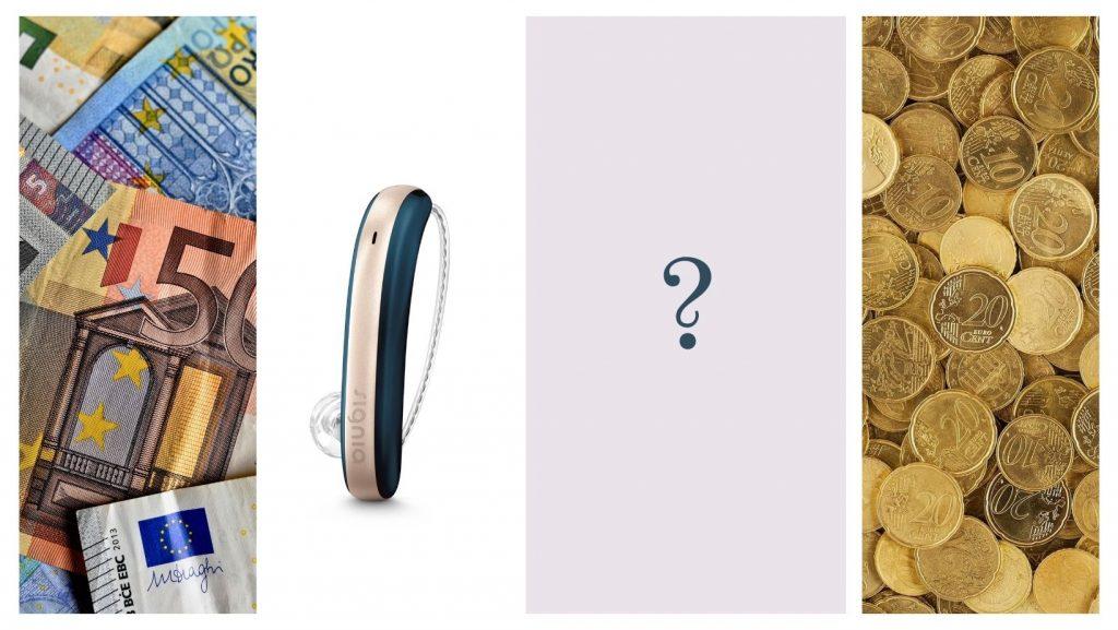Collage aus Geldscheinen, Münzen und einem Hörgerät