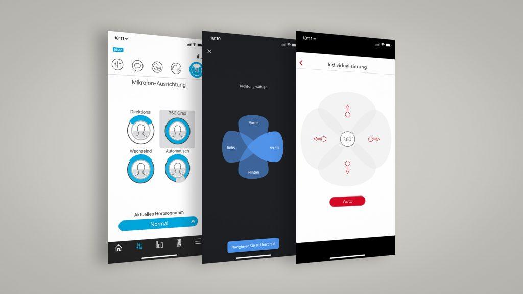 3 Screenshots von Hörgeräte-Apps, die den manuellen Zugriff auf Richtmikrofone gewähren