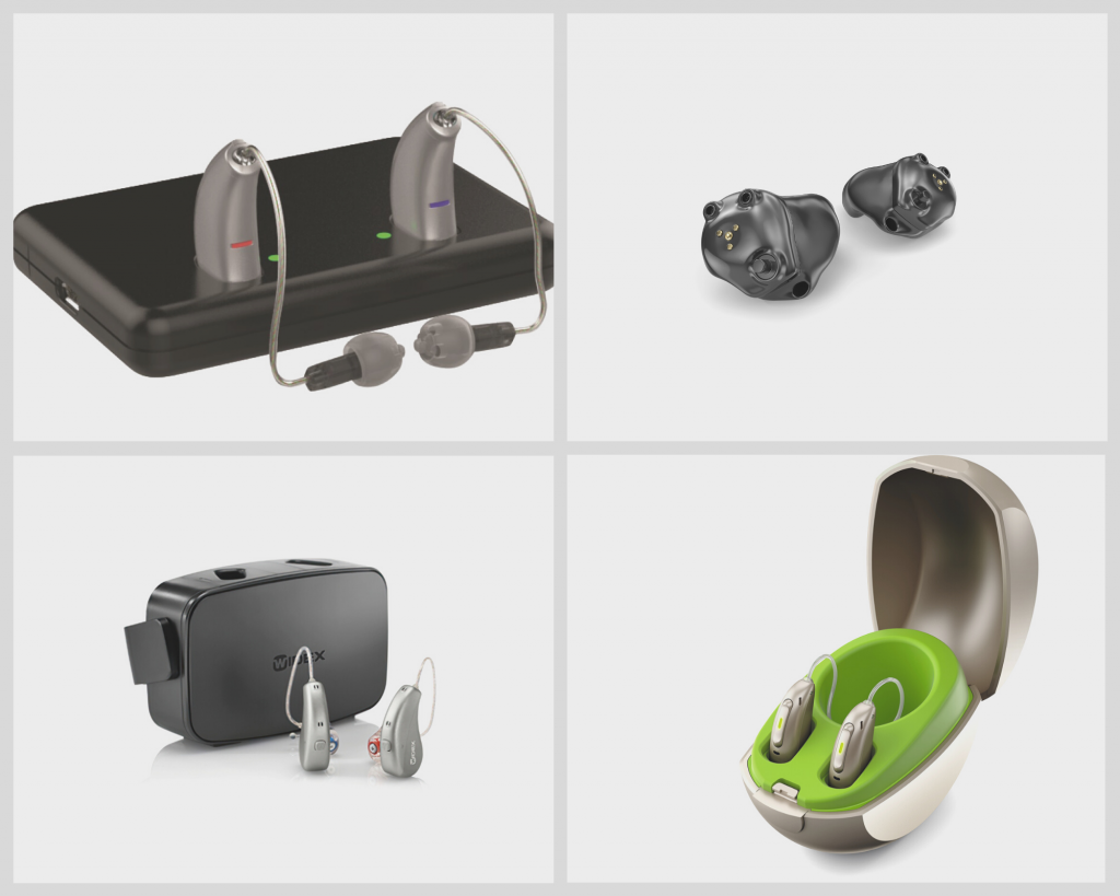 Drei Paar Hörgeräte mit unterschiedlichen Ladestationen sowie ein Paar aufladbare Im-Ohr-Hörgeräte