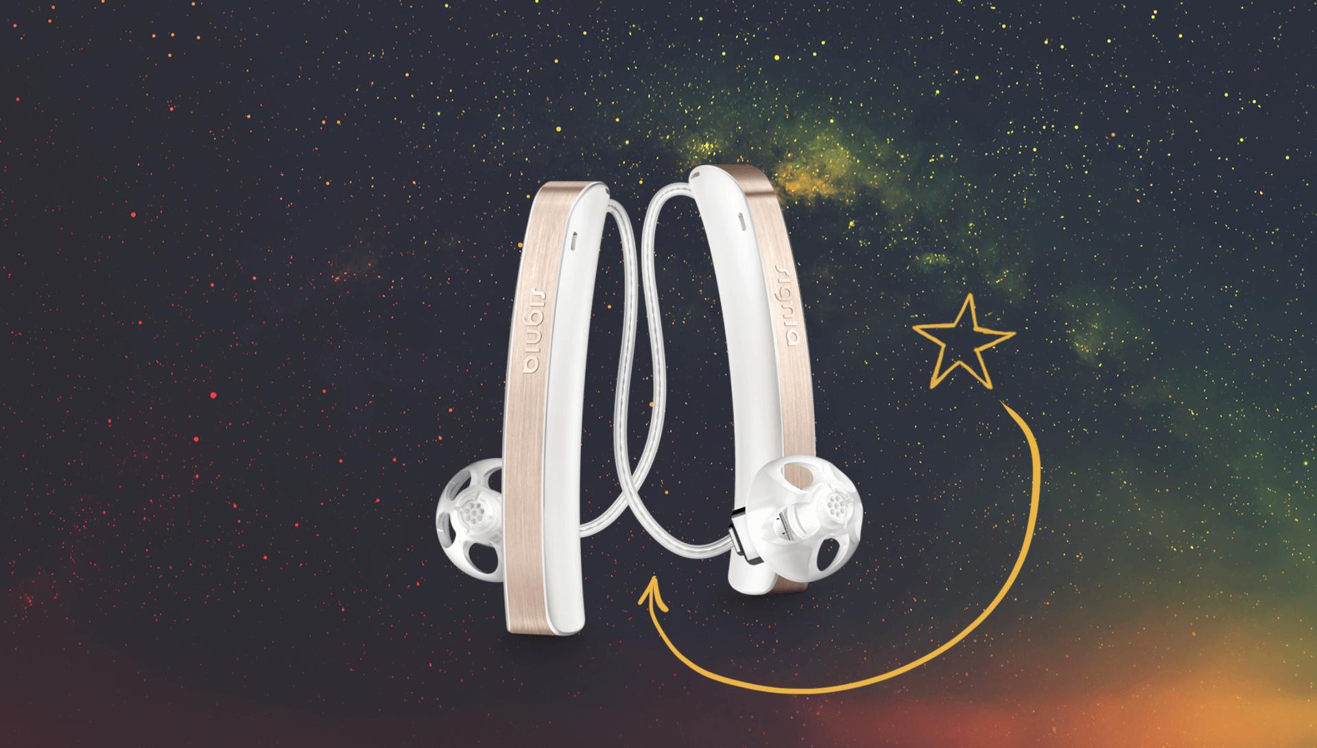 Zwei Exhörer-Hörgeräte schweben im All