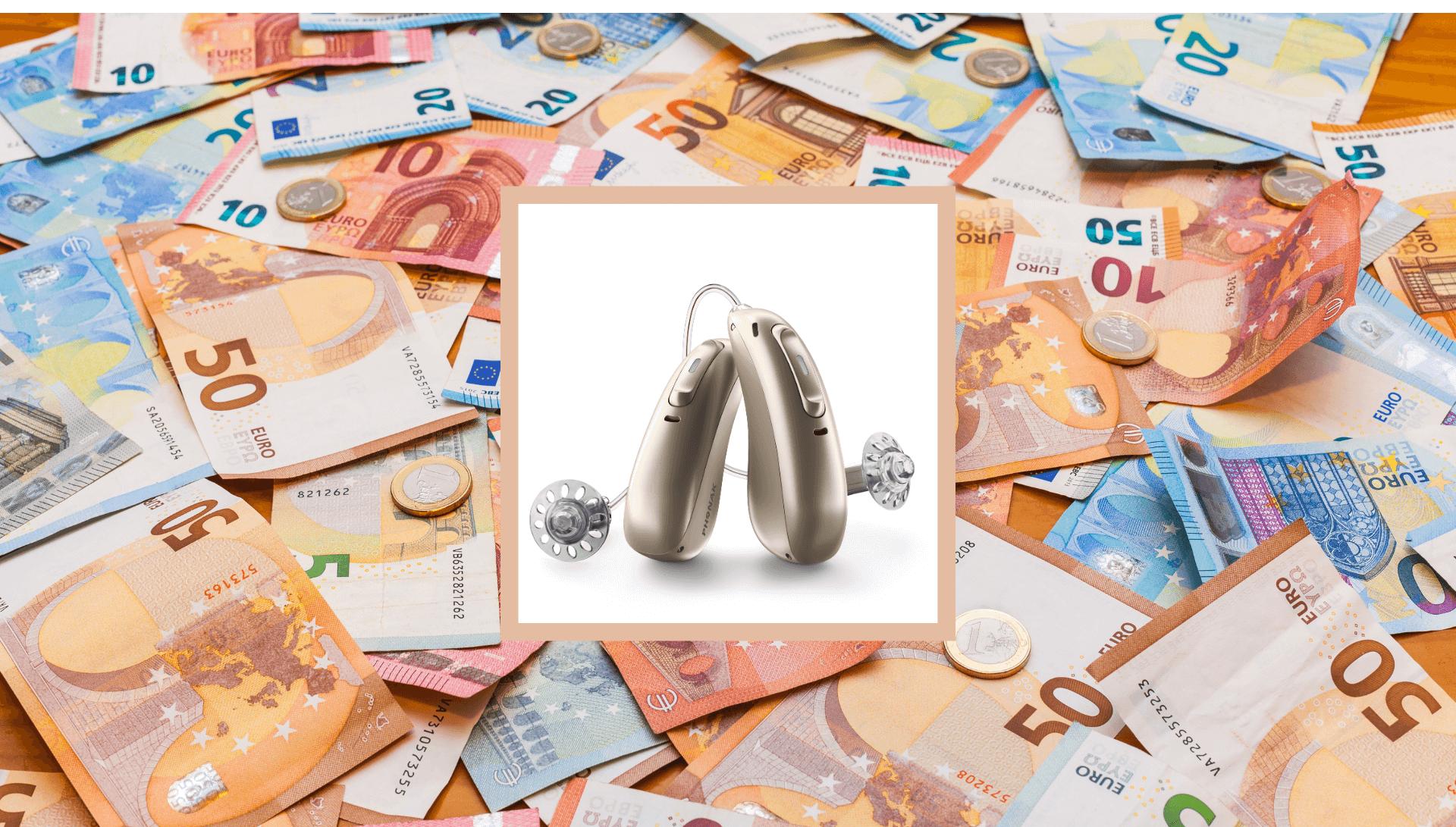 Collage aus Hörgeräten und Geldscheinen, symbolisiert Hörgeräte-Preise