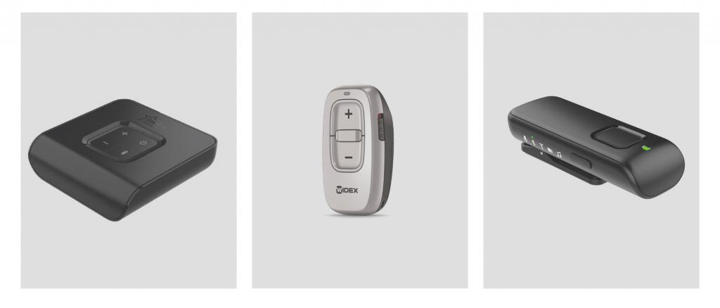 Zubehör für Hörgeräte. Ein TV-Adapter, Fernbedienung, Ansteckmikrofon