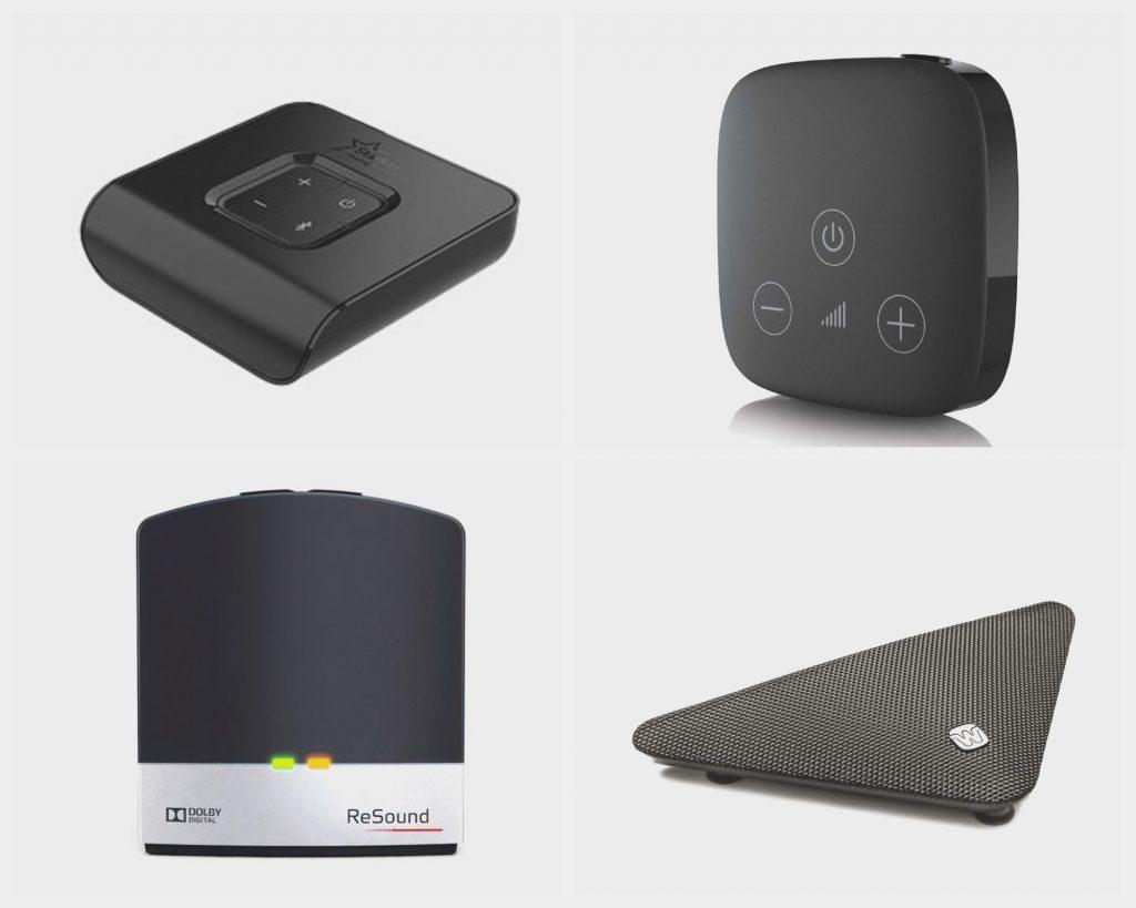 4 verschiedene TV-Adapter für Hörgeräte