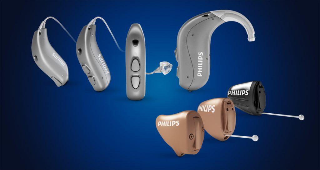 Verschiedene HdO- und IdO-Modelle von Philips HearLink Hörgeräten